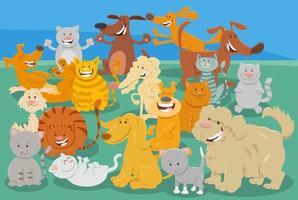 cartoni animati cani e gatti personaggi animali comici vettore