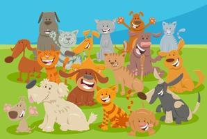 cartone animato cani e gatti gruppo di personaggi animali comici vettore
