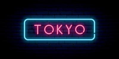 insegna al neon di tokyo. cartello luminoso luminoso. vettore