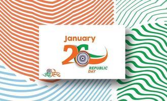 concetto di giorno della repubblica indiana con testo 26 gennaio. disegno astratto illustrazione vettoriale. vettore
