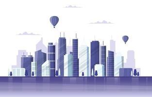 illustrazione di affari dell'orizzonte di paesaggio urbano della costruzione di edifici della città del cielo vettore