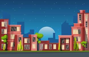 illustrazione di affari dell'orizzonte di paesaggio urbano della costruzione di edifici della città di notte vettore