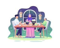 ramadan sahur e iftar festeggiano con la famiglia durante il mese del ramadan, mangiano insieme alla famiglia musulmana, digiuno del ramadan vettore