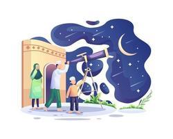 ramadan kareem, i musulmani cercano nel cielo con un telescopio la luna nuova che segna l'inizio del mese sacro del ramadan vettore