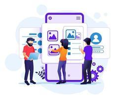 creazione di un concetto di design dell'applicazione, persone e luogo del testo del contenuto, illustrazione del design dell'interfaccia utente vettore