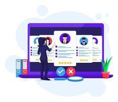 concetto di reclutamento online, ricerca donna d'affari e scegliere un candidato per il nuovo dipendente, assunzione, illustrazione vettoriale processo di reclutamento
