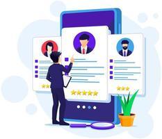 reclutamento online, uomo d'affari che sceglie il miglior candidato per un nuovo dipendente, risorsa umana e illustrazione del concetto di assunzione vettore