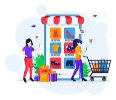 concetto di acquisto in linea, giovani donne con il carrello che acquistano prodotti nell'illustrazione piana di vettore del negozio di applicazioni mobili