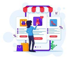 concetto di acquisto online, una donna sceglie e acquista prodotti nell'illustrazione di vettore del negozio di applicazioni mobili online