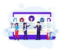 concetto di reclutamento online, persone che cercano il miglior candidato per un nuovo dipendente, illustrazione vettoriale piatto processo di assunzione e reclutamento
