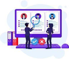 concetto di assunzione e reclutamento, persone alla ricerca di candidati per un nuovo dipendente, risorse umane, illustrazione del processo di reclutamento vettore