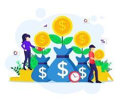 investimento di denaro, persone che innaffiano l'albero dei soldi, raccolgono monete, aumentano i profitti degli investimenti finanziari vettore