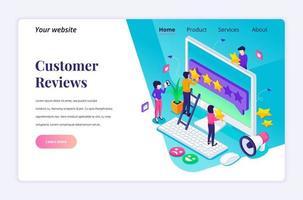 concetto di design della pagina di destinazione isometrica del concetto di recensioni dei clienti, persone che danno valutazione e recensione a cinque stelle, feedback positivo. servizio clienti ed esperienza utente. illustrazione vettoriale