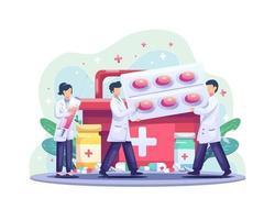 Il concetto di illustrazione della giornata mondiale della salute con un gruppo di medici porta la medicina e le pillole per la salute vettore
