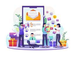 referral e programma di affiliazione di partnership con uomini d'affari che segnalano persone utilizzando uno smartphone. illustrazione di concetto di strategia di marketing vettore