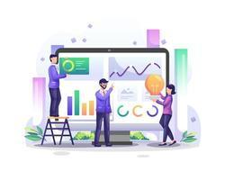 il concetto di analisi dei dati con le persone del personaggio sullo schermo del computer analizza i grafici e l'illustrazione grafica della visualizzazione dei dati vettore