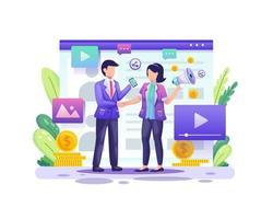 marketing di riferimento, marketing di affiliazione, una partnership commerciale con due uomini d'affari concordano sull'illustrazione del programma di riferimento vettore