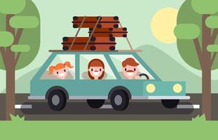 Vettore piano dell'illustrazione di feste di vacanza di famiglia