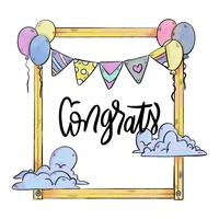 Cute Frame Witrh Ballons, Clouds and Pennant