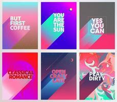 set di poster di carte frase cool vettore