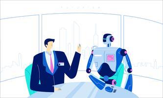 Illustrazione piana di vettore umano futuristico di innovazione tecnologica del robot