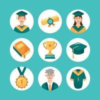 collezione di icone di laurea di laurea vettore
