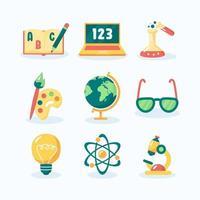 set di icone di educazione dei bambini vettore