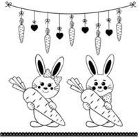 set di simpatici personaggi di coniglio con carota e ghirlanda di pasqua, contorno nero vettore