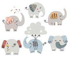 set di simpatici elefanti per bambini vettore