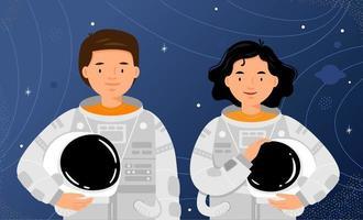 uomo e donna astronauti sullo sfondo del cielo stellato vettore