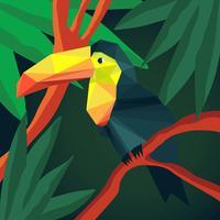 Vettore tropicale dell'illustrazione di stile del tucano degli animali di origami