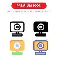 pacchetto di icone webcam isolato su priorità bassa bianca. per il design del tuo sito web, logo, app, ui. illustrazione grafica vettoriale e tratto modificabile. eps 10.