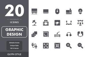 pacchetto di icone di design grafico vettore