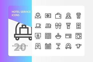 pacchetto di icone di servizio alberghiero isolato su priorità bassa bianca. per il design del tuo sito web, logo, app, ui. illustrazione grafica vettoriale e tratto modificabile. eps 10.