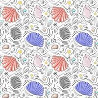 conchiglie vettoriali seamless pattern in stile cartone animato. conchiglie semicircolari grigie e rosse, conchiglie rosa pallido, pietre di mare, gocce e linee scarabocchiate nere