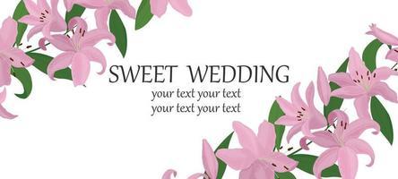 cartolina vettoriale. un invito a nozze. modello struttura cartolina. fiori di giglio rosa chiaro su sfondo bianco. vettore