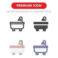 pacchetto di icone di vasca da bagno isolato su priorità bassa bianca. per il design del tuo sito web, logo, app, ui. illustrazione grafica vettoriale e tratto modificabile. eps 10.