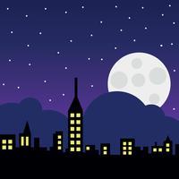 Paesaggio della città con la luna