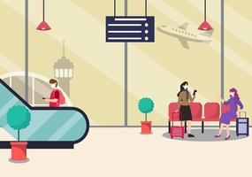 nuovo normale, illustrazione vettoriale persone in maschere in piedi sul terminale interno dell'aeroporto scala mobile, concetto di viaggio d'affari. design piatto.