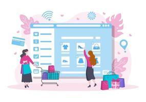 design piatto per lo shopping online per la pagina di destinazione del sito Web, elementi di marketing o illustrazione di e-commerce, banner web e pagamento digitale vettore