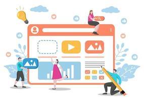 illustrazioni piatte di sviluppo web per siti web, programmazione, materiali di marketing, presentazioni aziendali, pubblicità online e applicazioni mobili vettore