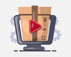 illustrazione dell'icona di concetto di video unboxing vettore