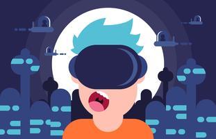 Vettore piano dell'illustrazione del gioco di realtà virtuale di Futurismo