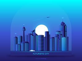 Fondo urbano futuristico di vettore di paesaggio urbano
