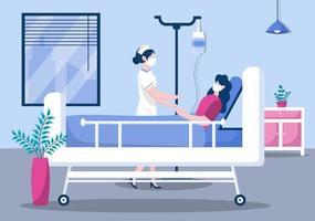 medico o infermiere in maschera facciale aiutando con un paziente, l'infermiera spinge la sedia a rotelle con uomo disabile. concentrazione del personale medico vettore