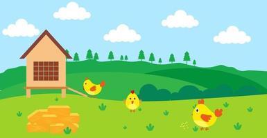 Cartoon carino illustrazione vettoriale di pollo e fattoria prato rurale