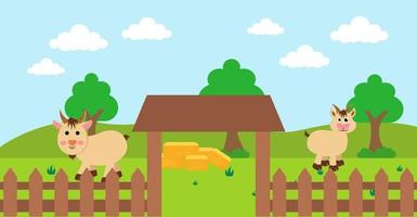 Cartoon carino illustrazione vettoriale di capra e fattoria prato rurale