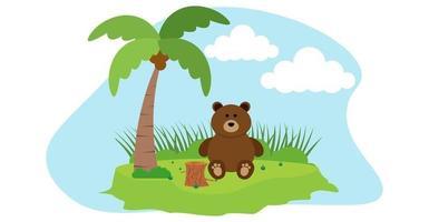 orso vettore simpatici animali in stile cartone animato, animali selvatici, disegni per vestiti per bambini. personaggi disegnati a mano