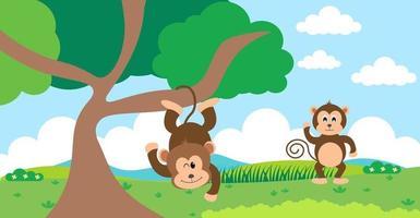 scimmia vettore simpatici animali in stile cartone animato, animale selvatico, disegni per vestiti per bambini. personaggi disegnati a mano