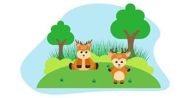cervi vettore simpatici animali in stile cartone animato, animali selvatici, disegni per vestiti per bambini. personaggi disegnati a mano